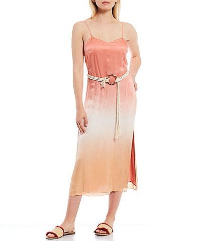 Chelsea & Violet Belted Dip Dye Sweetheart Neck Sleeveless Satin Cami Dress