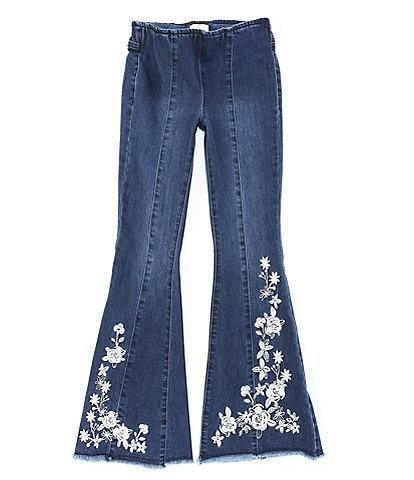 Chelsea & Violet Big Girls 7-16 Denim Embroidery Flare Leg Pants