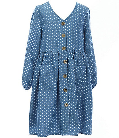 Chelsea & Violet Big Girls 7-16 Dotted Chambray V-Neck 3/4 Sleeve Button Front Babydoll Dress