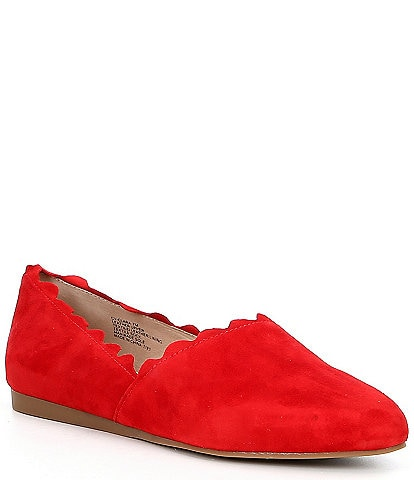 Chelsea & Violet Clara Suede Scalloped Ballet Flats