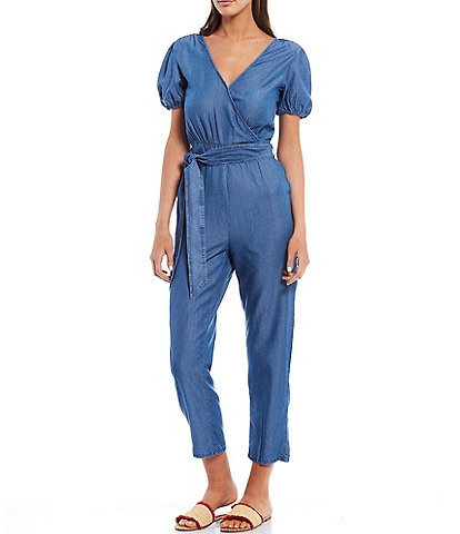 Chelsea & Violet Cropped Flare Chambray Jumpsuit