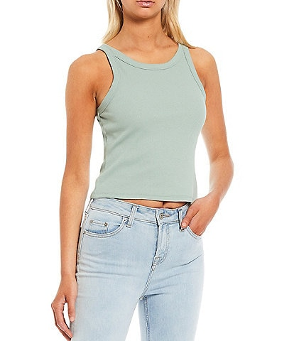 Chelsea & Violet Cropped Racer Ribbed Knit Top