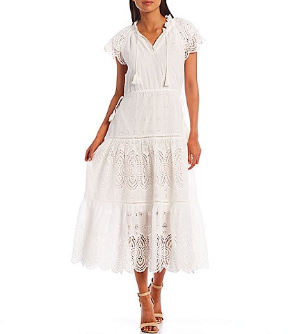Chelsea & Violet Embroidered Eyelet Ruffle Sleeve Side Pocket Midi Dress
