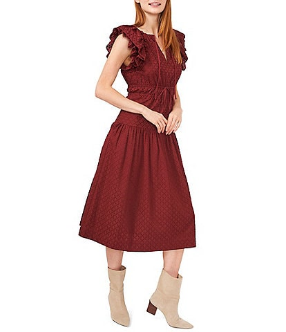 Chelsea & Violet Embroidered Smocked Split Round Tie Neck Ruffle Cap Sleeve A-Line Dress