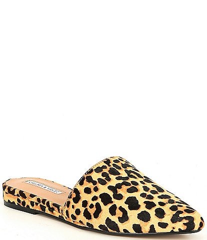 Chelsea & Violet Eve Leopard Print Haircalf Wedge Mules