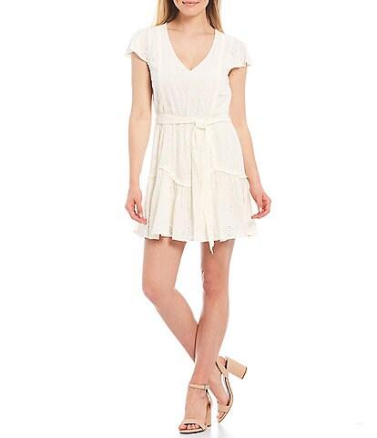 Chelsea & Violet Eyelet Flutter Sleeve V-Neck Belted Mini Dress