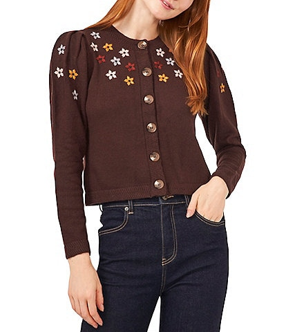 Chelsea & Violet Flower Embroidered Crew Neck Long Sleeve Button-Front Cropped Cardigan