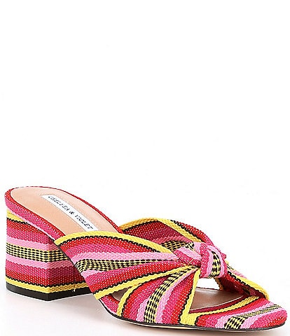 Chelsea & Violet Gia Knot Stripe Printed Mules