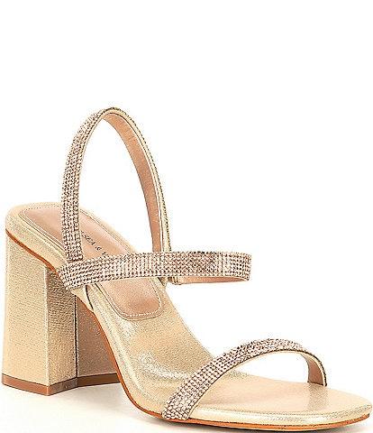 Chelsea & Violet Girli Rhinestone Block Heel Sandals