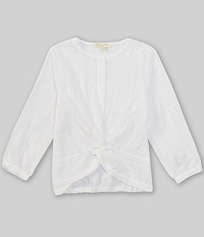 Chelsea & Violet Girls 7-16 Textured Button-Front 3/4 Sleeve Knot Detail Blouse