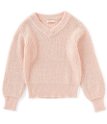 Chelsea & Violet Girls Big Girls 7-16 Bishop-Sleeve Solid V-Neck Sweater