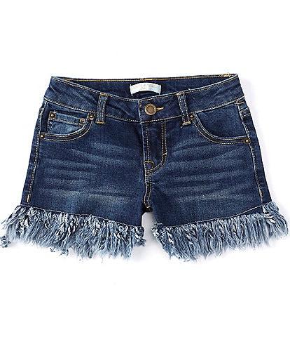 Chelsea & Violet Girls Big Girls 7-16 Distressed Fringe-Hem Denim Shorts