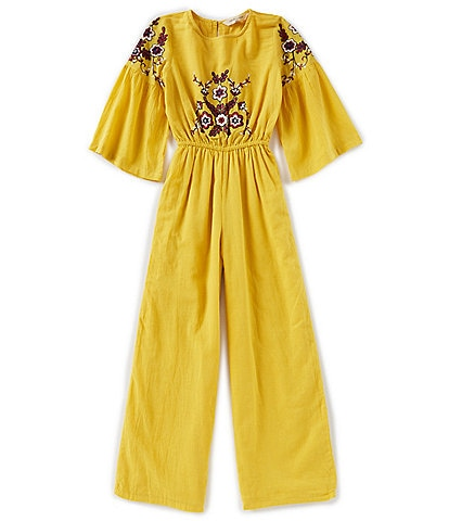 Chelsea & Violet Girls Big Girls 7-16 Embroidered 3/4 Sleeve Cropped Jumpsuit