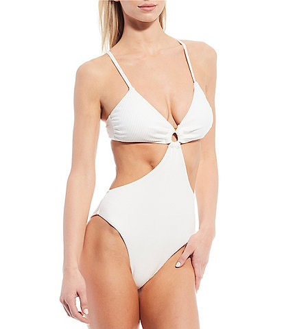 Chelsea & Violet Inner Beauty Texture Wooden Ring Cutout One-Piece Swimsuit
