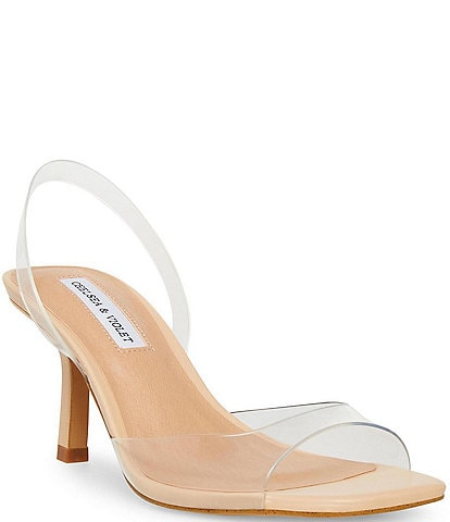 Chelsea & Violet Joy Clear Square Toe Slingback Sandals