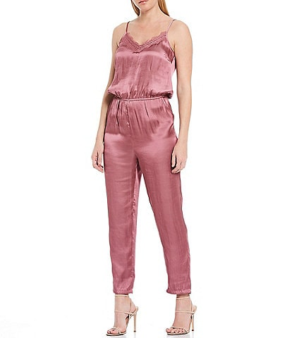 Chelsea & Violet Lace Inset Satin Sleeveless Jumpsuit