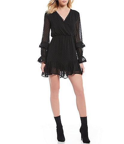 Chelsea & Violet Lace Trim Surplice V-Neck Ruffle Poet Sleeve Dot Blouson Dress