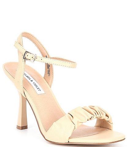 Chelsea & Violet Lindn Ruched Leather Ankle Strap Dress Sandals
