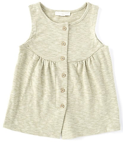 Chelsea & Violet Little Girls 2T-6X Heathered Button-Front Tank Top