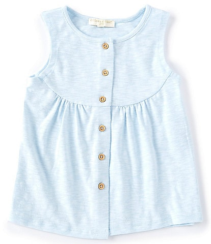 Chelsea & Violet Little Girls 2T-6X Heathered Button Tank