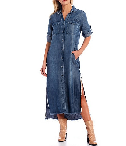 Chelsea & Violet Long Roll-Tab Sleeve Hi-Low Chambray Maxi Shirt Dress