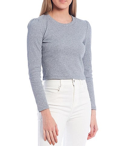 Chelsea & Violet Long Sleeve Crew Neck Ribbed Knit Cropped Top