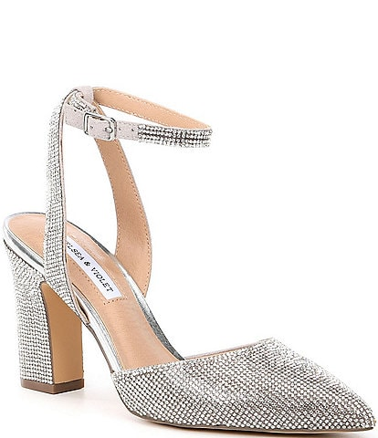 Chelsea & Violet Mary Rhinestone Embellished Pointed Toe Pumps