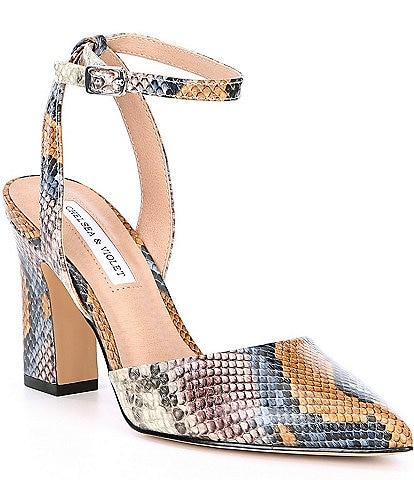 Chelsea & Violet Mary Snake Print Leather Pointed Toe Block Heel Pumps