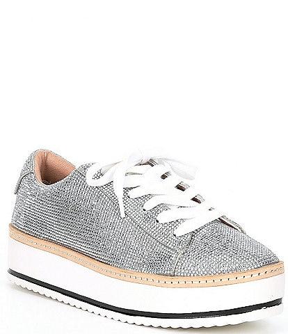 Chelsea & Violet Minie Rhinestone Embellished Lace-Up Platform Sneakers