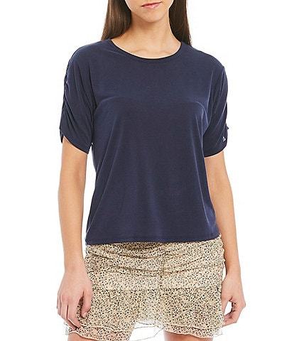 Chelsea & Violet Modal Ruched Short Sleeve Knit Top