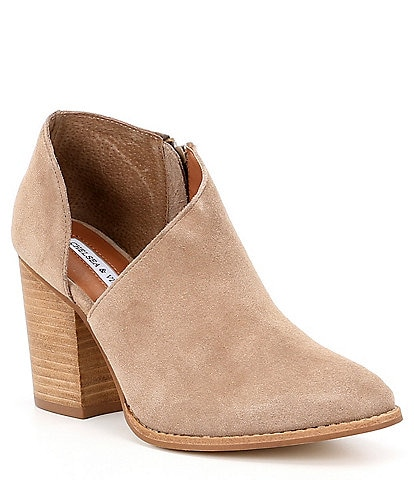 Chelsea & Violet Nicky Suede Side-Cut-Out Block Heel Booties