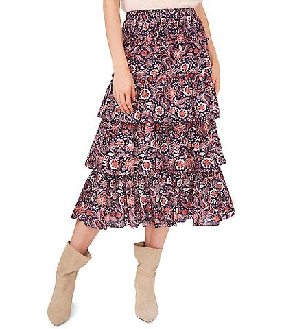 Chelsea & Violet Paisley Ruffle High Rise Tiered Midi Skirt