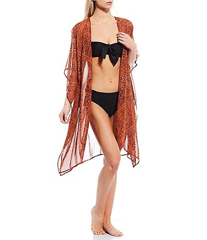 Chelsea & Violet Patch Perfect Animal Print Open Front Kimono Swimsuit Cover Up