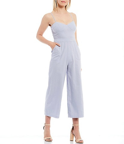 Chelsea & Violet Patch Pocket Cotton Denim Shirting Sweetheart Neck Sleeveless Wide Leg Jumpsuit