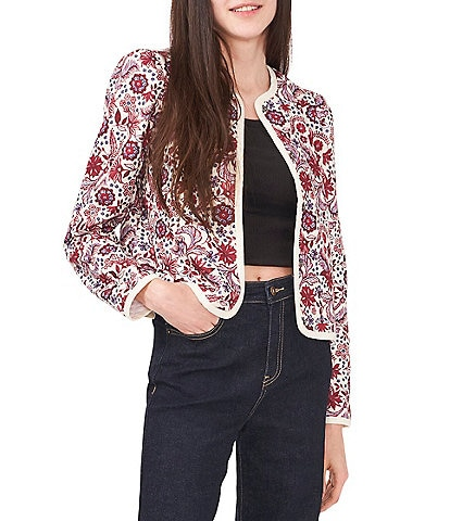 Chelsea & Violet Quilted Paisley Print Crew Neck Long Sleeve Snap Front Jacket