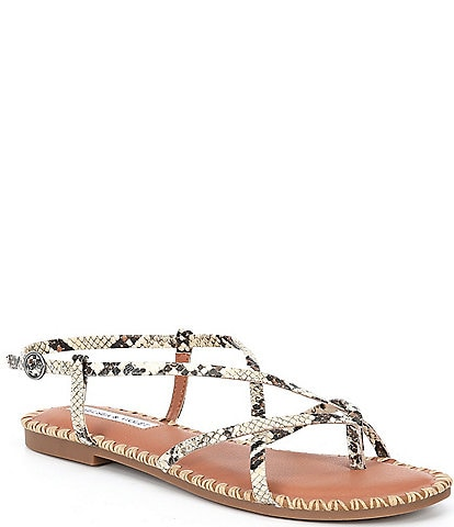 Chelsea & Violet Rena Strappy Snake Print Leather Thong Sandals
