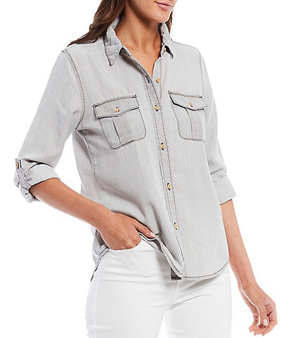 Chelsea & Violet Roll Tab Long Sleeve Button Front Chambray Shirt