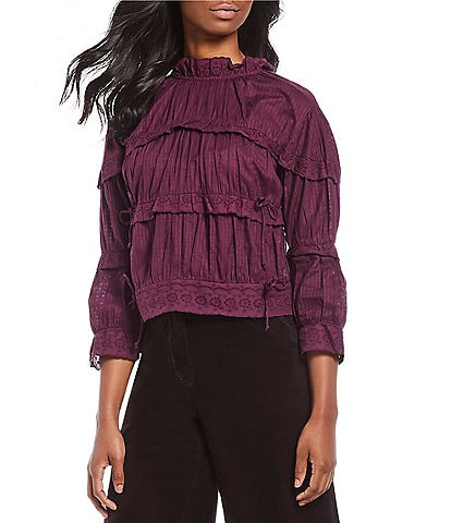 Chelsea & Violet Shadow Stripe Lace Trim Mock Neck Victorian Tiered Ruffle Top