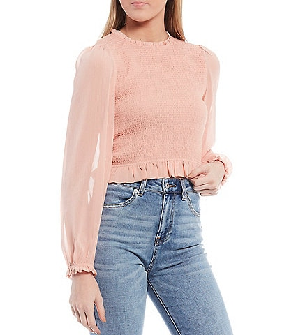 Chelsea & Violet Smocked Back Zip Long Sleeve Cropped Top