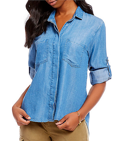 Chelsea & Violet Split Back Button Front Vintage Chambray Shirt
