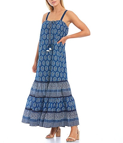 Chelsea & Violet Tiered Printed Cotton Lawn Ankle Length Maxi Dress