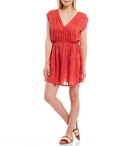 Chelsea & Violet V-Neck Cap Sleeve Rayon Sequin Stripe Mini Dress