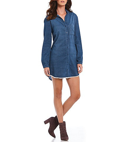Chelsea & Violet Button Down Western Inspired Frayed Mini Shirt Dress