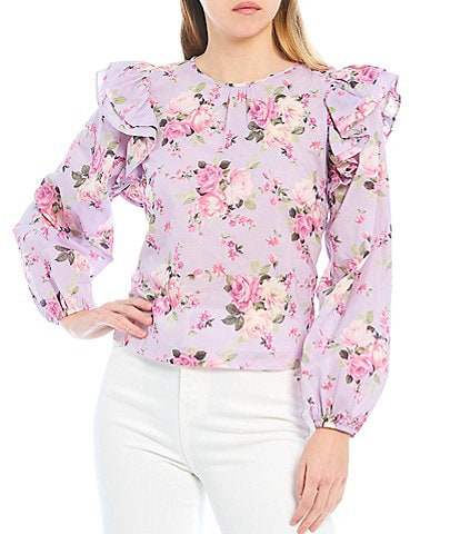 Chelsea & Violet Watercolor Floral Print Balloon Sleeve Ruffle Top