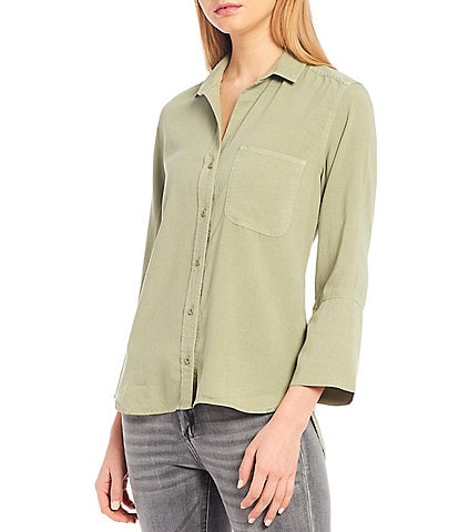 Chelsea & Violet Woven Shirttail Hem 3/4 Sleeve Button Down Top