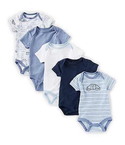 Chick Pea Baby Boys Newborn-9 Months Car/Printed/Solid Bodysuit 5-Pack