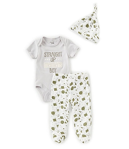 Chick Pea Baby Boys Newborn-9 Months Mama's Boy Bodysuit, Footed Pants, & Hat Set