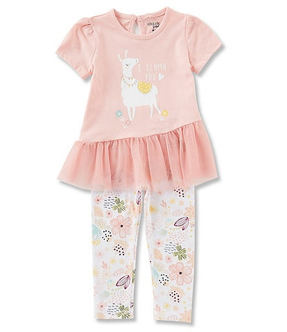 Chick Pea Baby Girls 12-24 Months Llama Short Sleeve Tunic & Printed Leggings Set