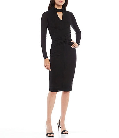 Christian Siriano Keyhole Neck Long Sleeve Rib Jersey Midi Sheath Dress
