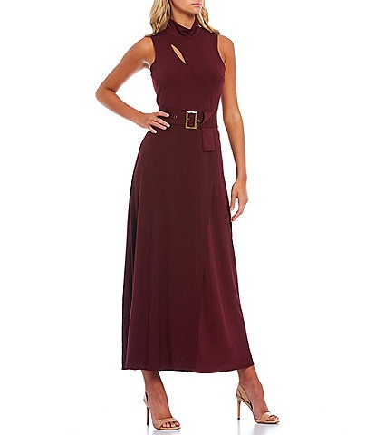 Christian Siriano Mock Neck Sleeveless Cutout Detail Moss Knit Belted Maxi Dress